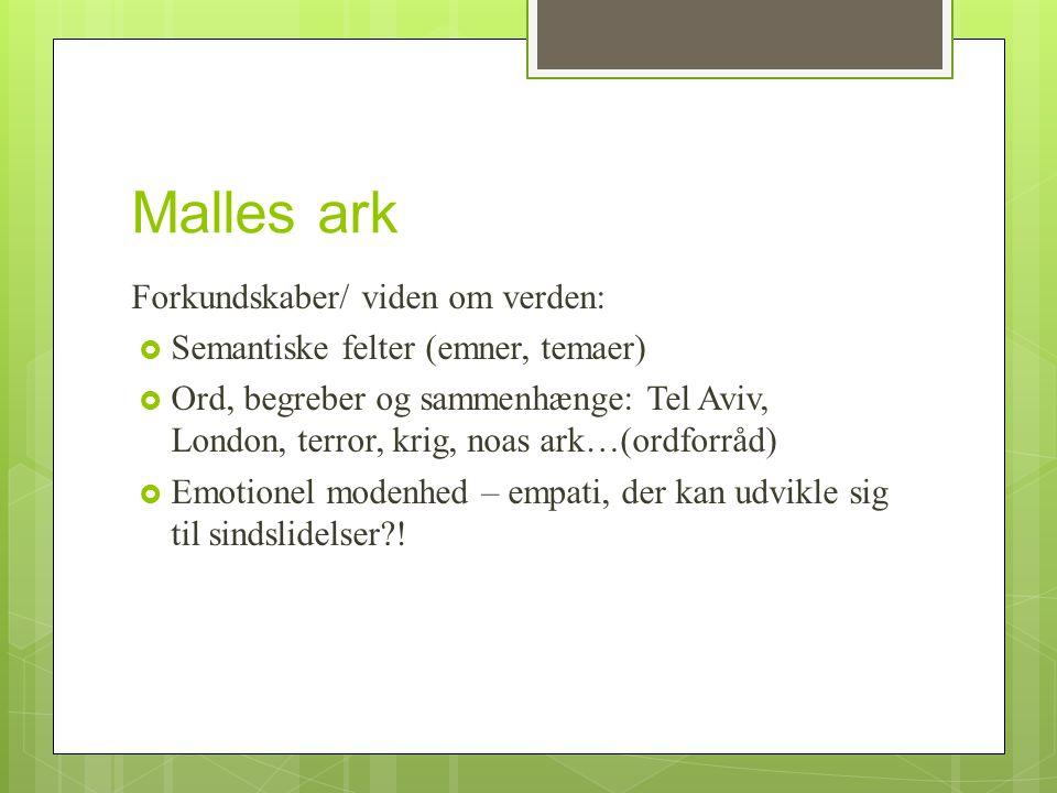 Malles ark Forkundskaber/ viden om verden: