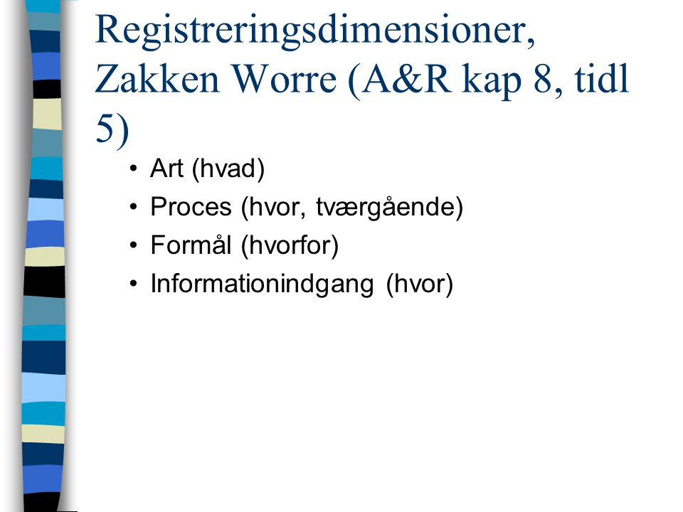 Registreringsdimensioner, Zakken Worre (A&R kap 8, tidl 5)
