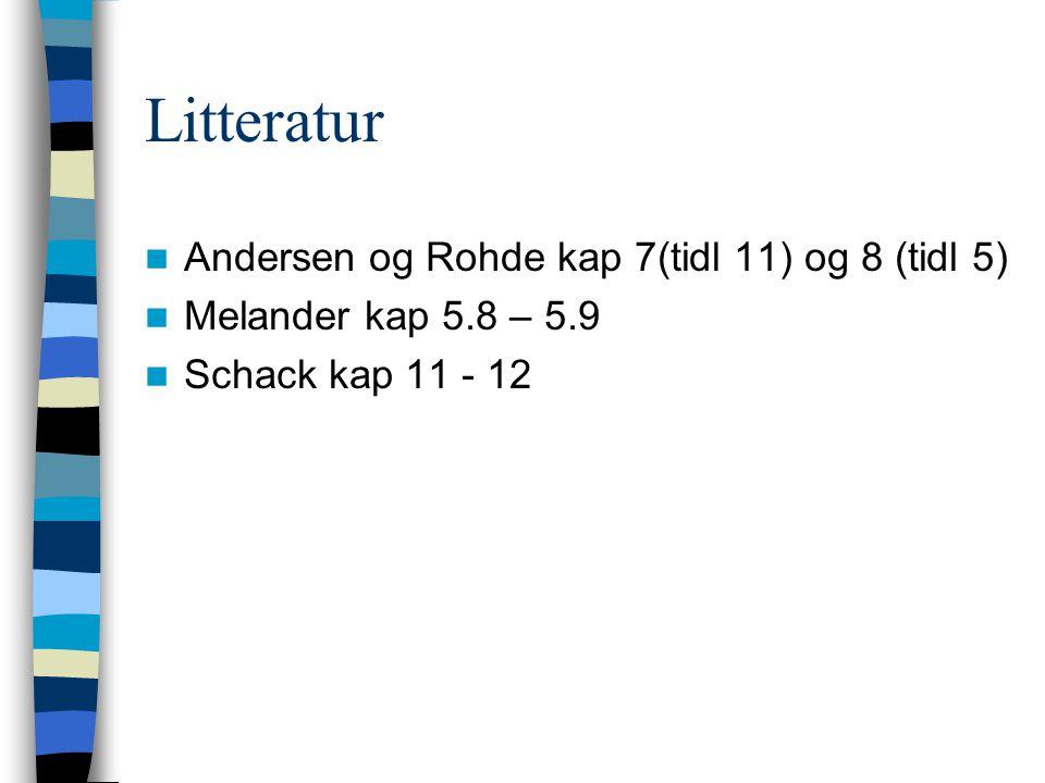 Litteratur Andersen og Rohde kap 7(tidl 11) og 8 (tidl 5)