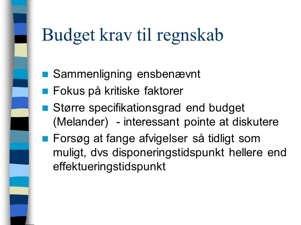 Budget krav til regnskab