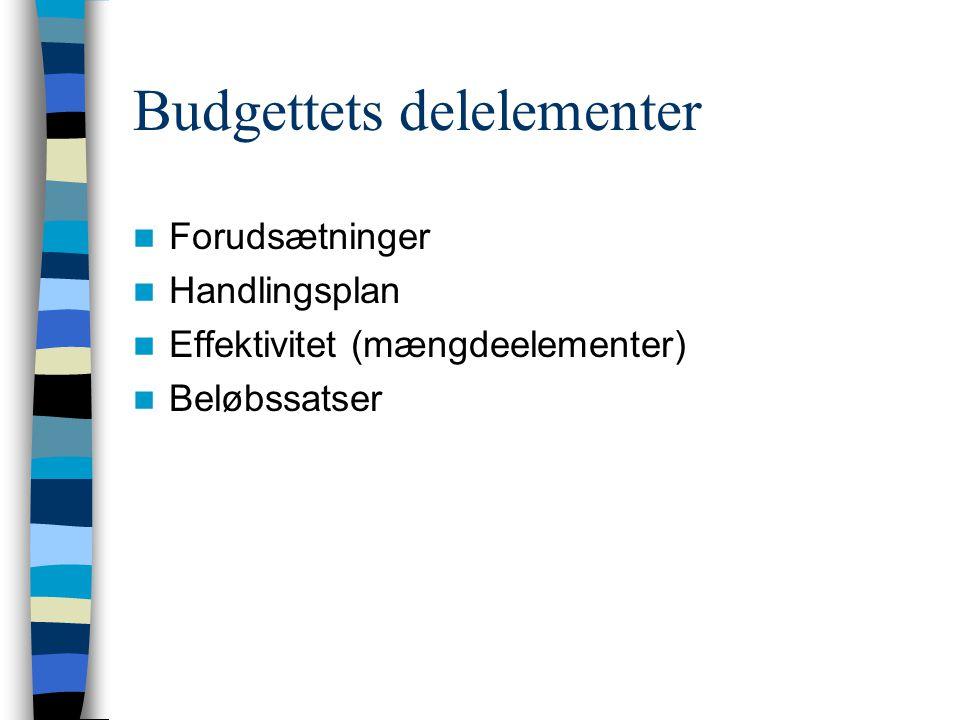 Budgettets delelementer