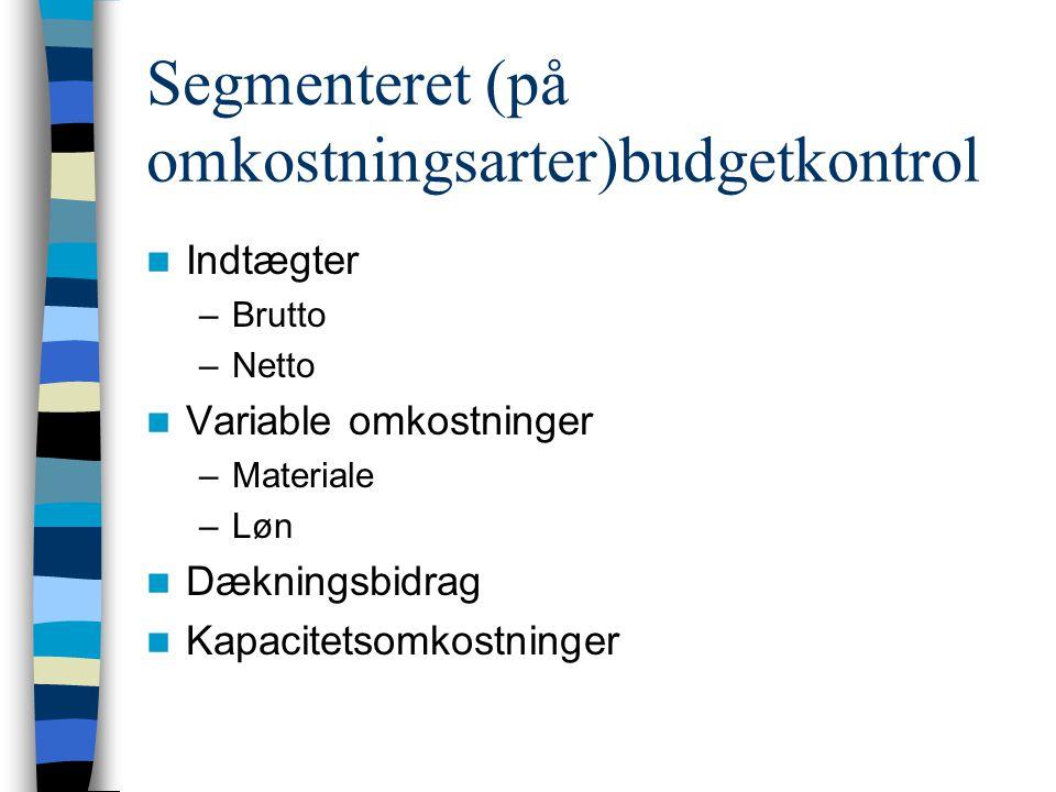 Segmenteret (på omkostningsarter)budgetkontrol