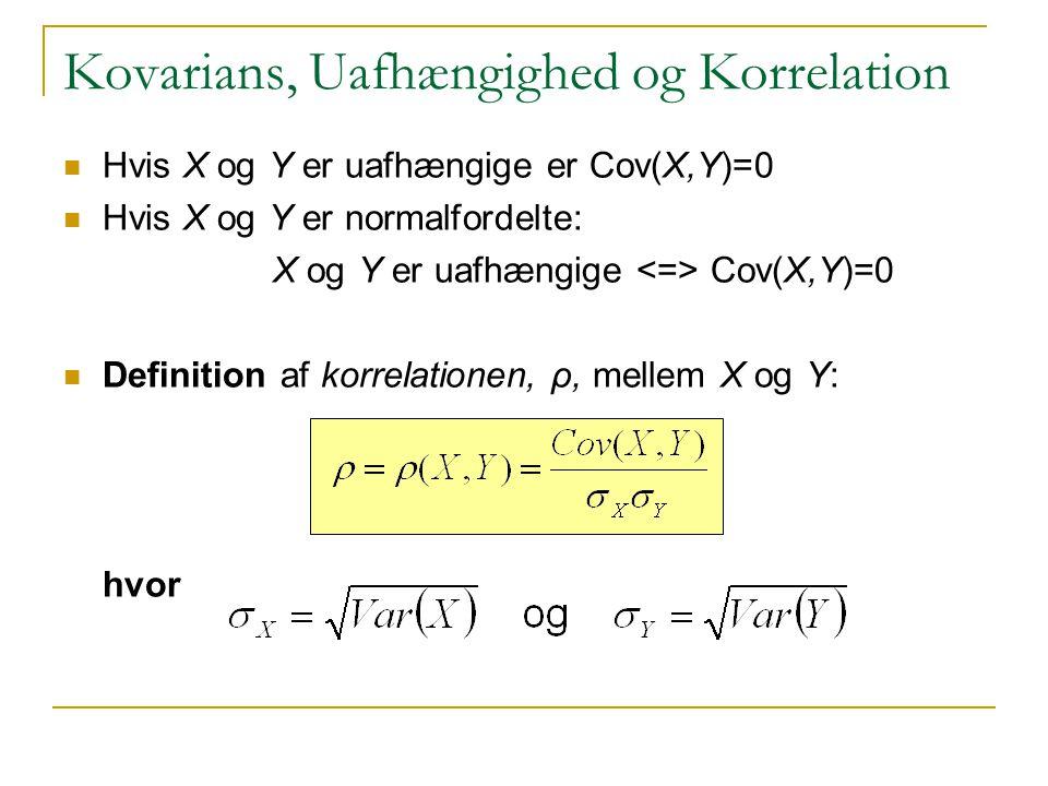 Kovarians, Uafhængighed og Korrelation