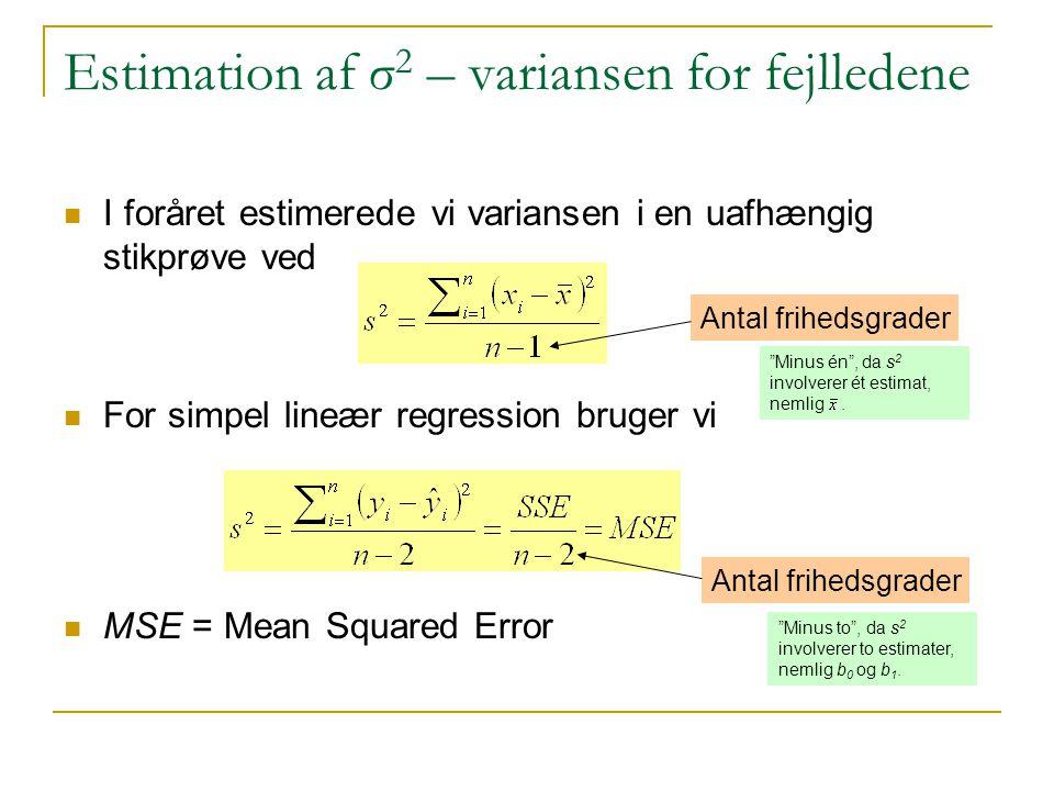 Estimation af σ2 – variansen for fejlledene