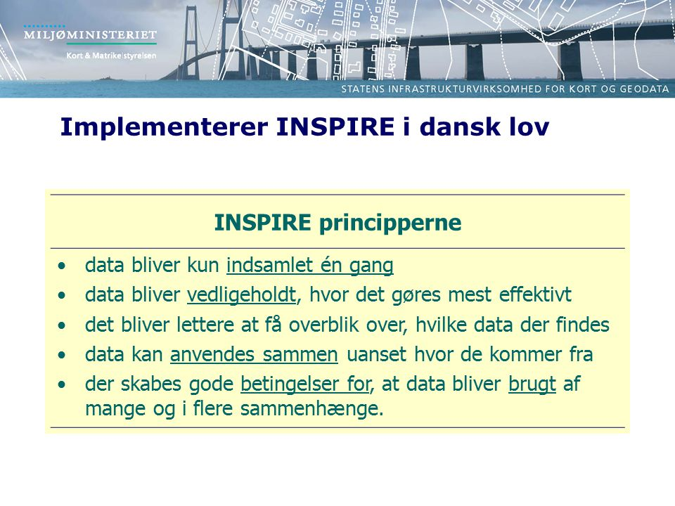 Implementerer INSPIRE i dansk lov