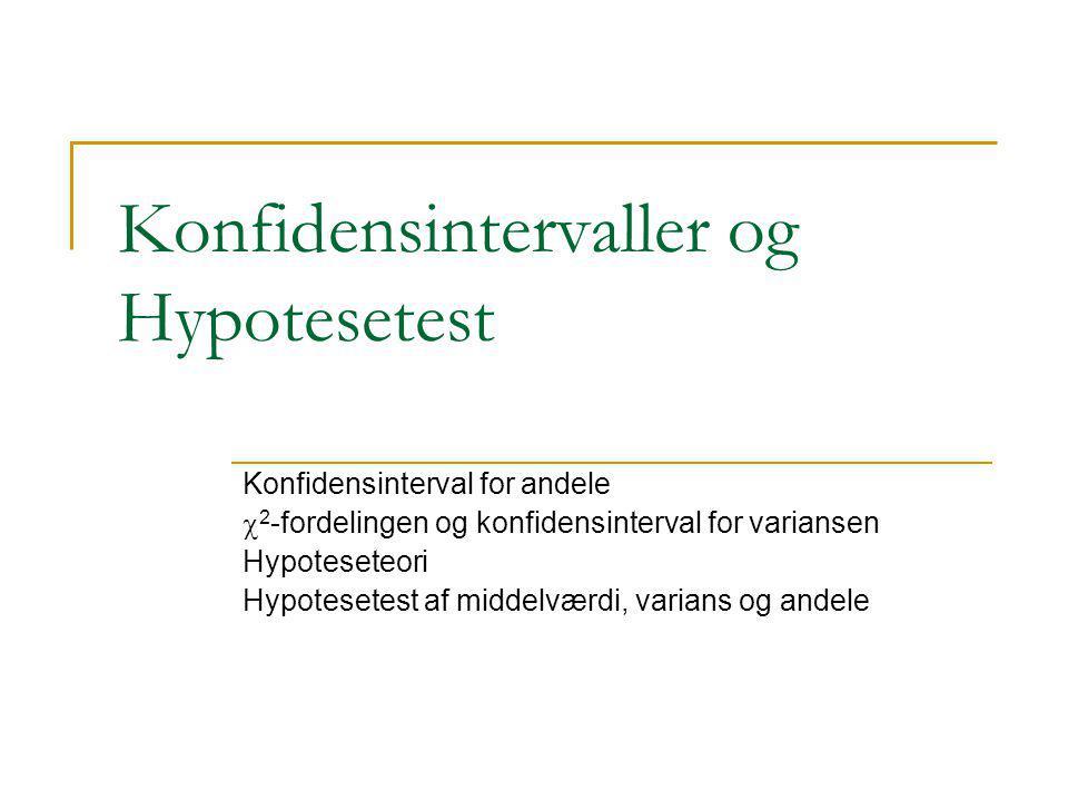 Konfidensintervaller og Hypotesetest