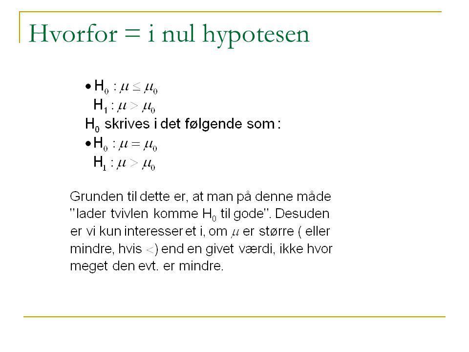 Hvorfor = i nul hypotesen
