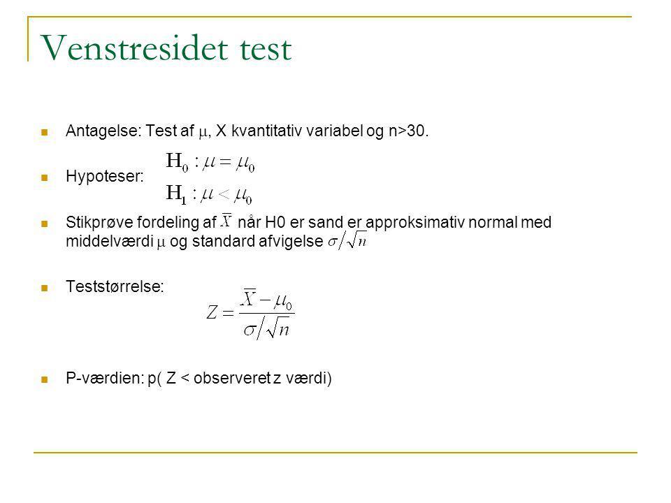 Venstresidet test Antagelse: Test af m, X kvantitativ variabel og n>30. Hypoteser: