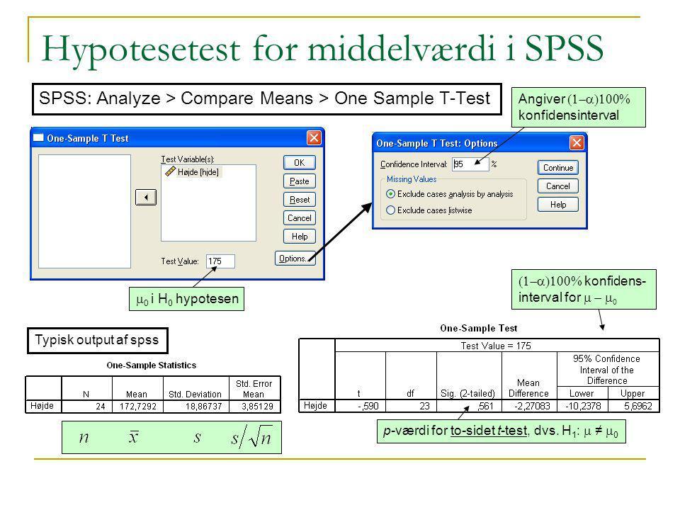 Hypotesetest for middelværdi i SPSS