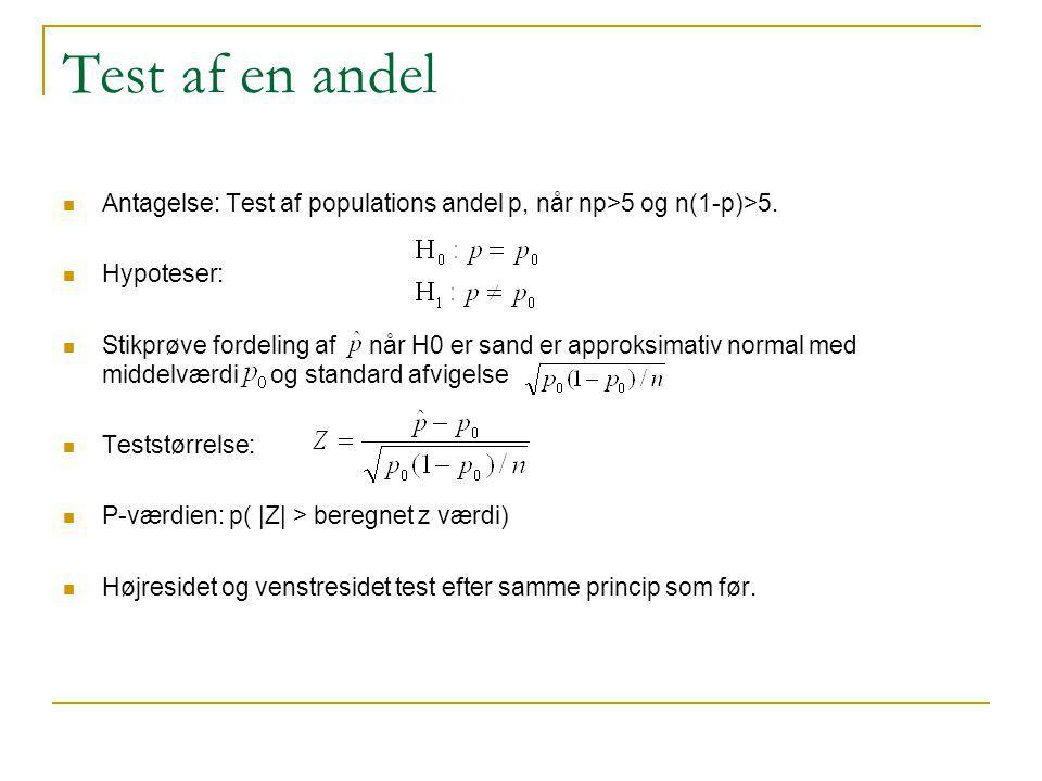 Test af en andel Antagelse: Test af populations andel p, når np>5 og n(1-p)>5. Hypoteser: