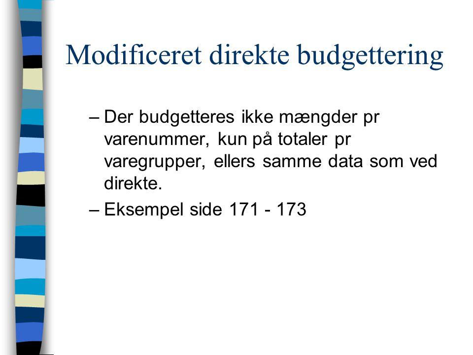 Modificeret direkte budgettering