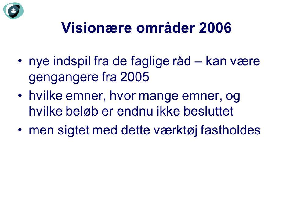 Visionære områder 2006 nye indspil fra de faglige råd – kan være gengangere fra 2005.