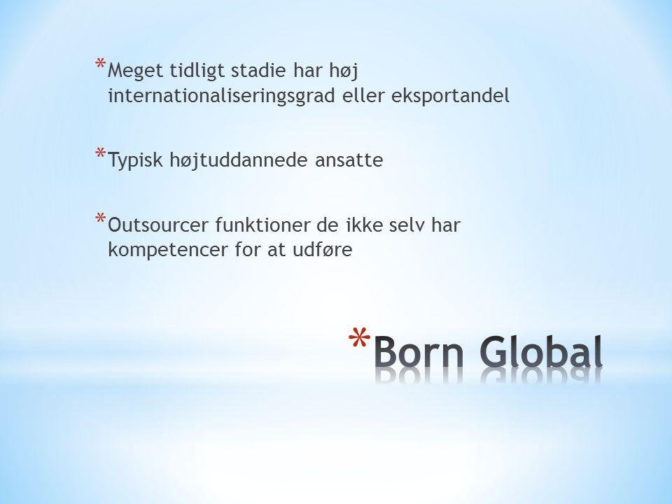 Meget tidligt stadie har høj internationaliseringsgrad eller eksportandel