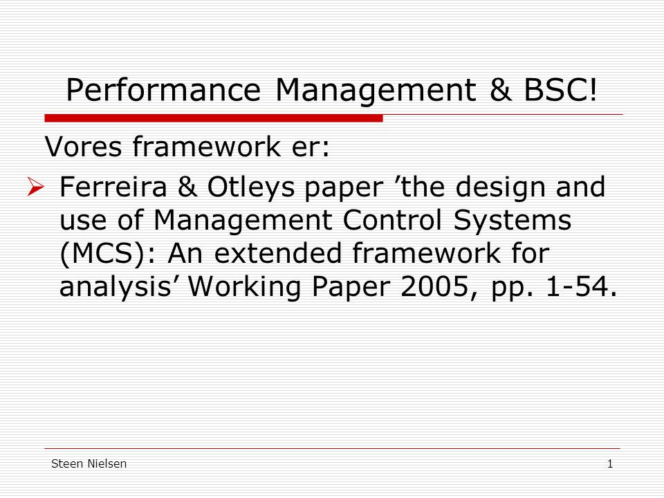 Performance Management & BSC!