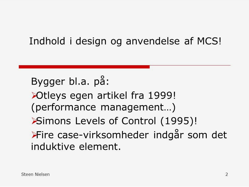Indhold i design og anvendelse af MCS!
