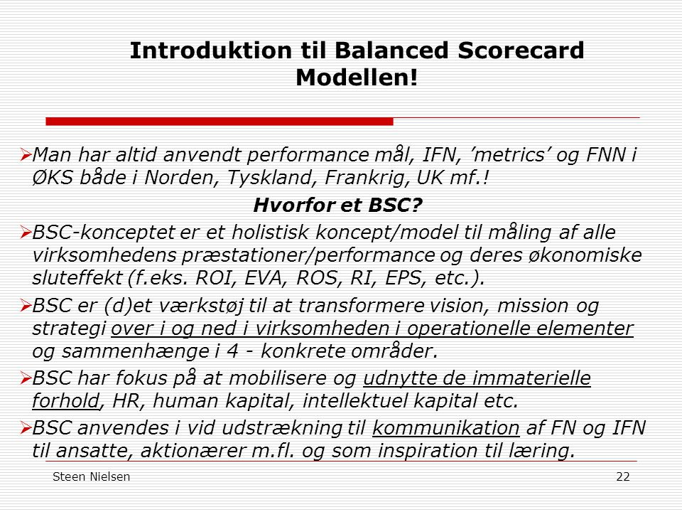 Introduktion til Balanced Scorecard Modellen!