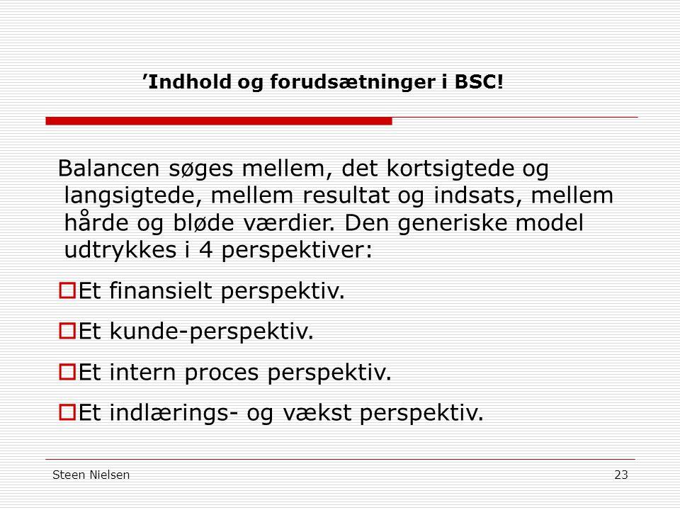 'Indhold og forudsætninger i BSC!