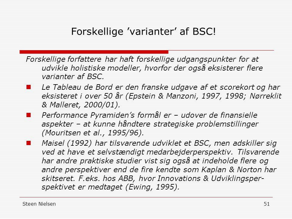 Forskellige 'varianter' af BSC!
