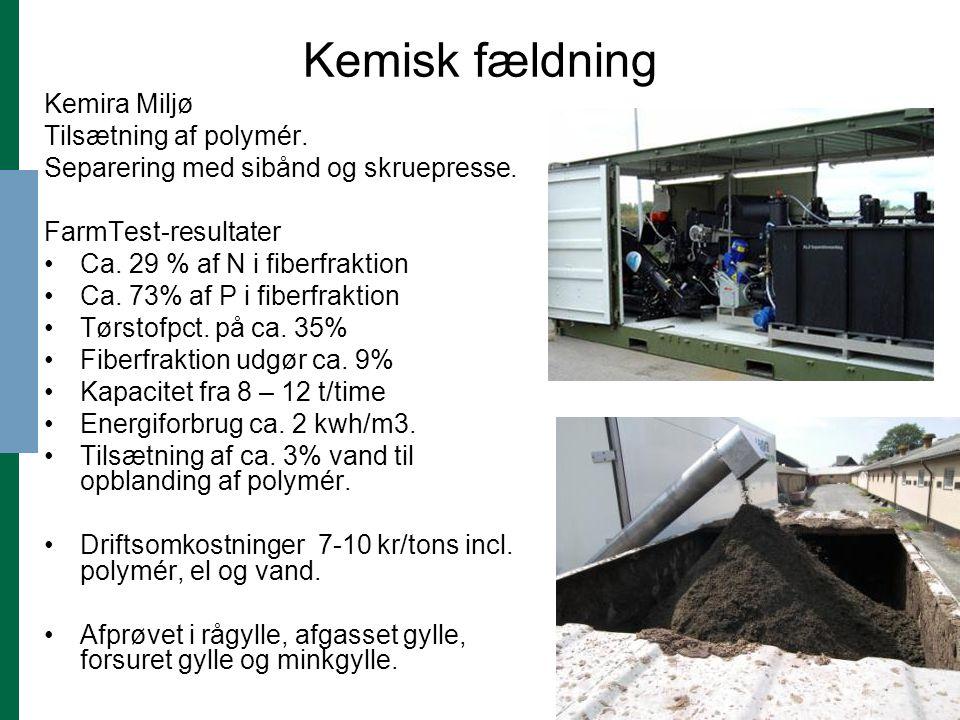 Kemisk fældning Kemira Miljø Tilsætning af polymér.