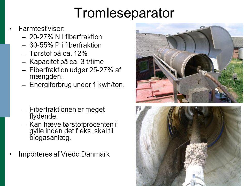 Tromleseparator Farmtest viser: 20-27% N i fiberfraktion