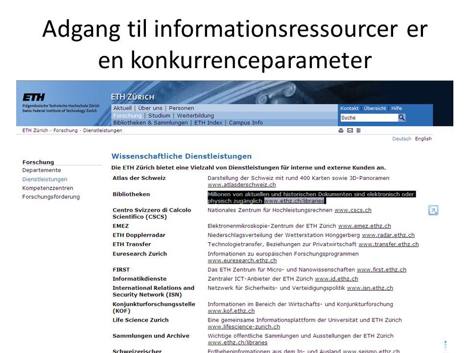 Adgang til informationsressourcer er en konkurrenceparameter