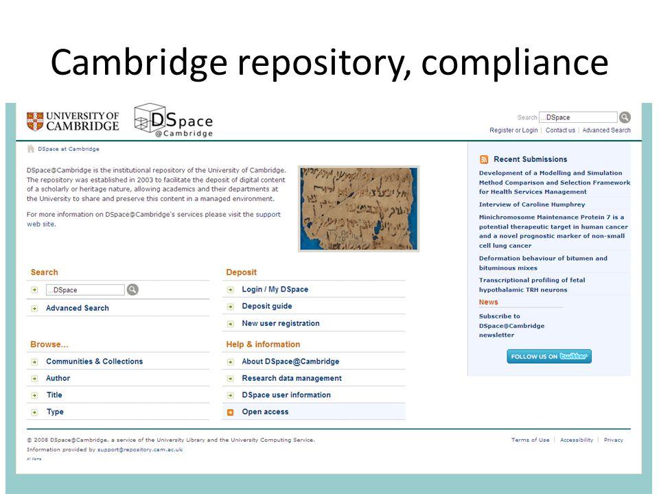 Cambridge repository, compliance