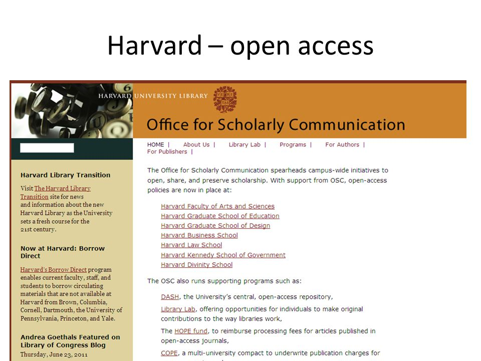 Harvard – open access