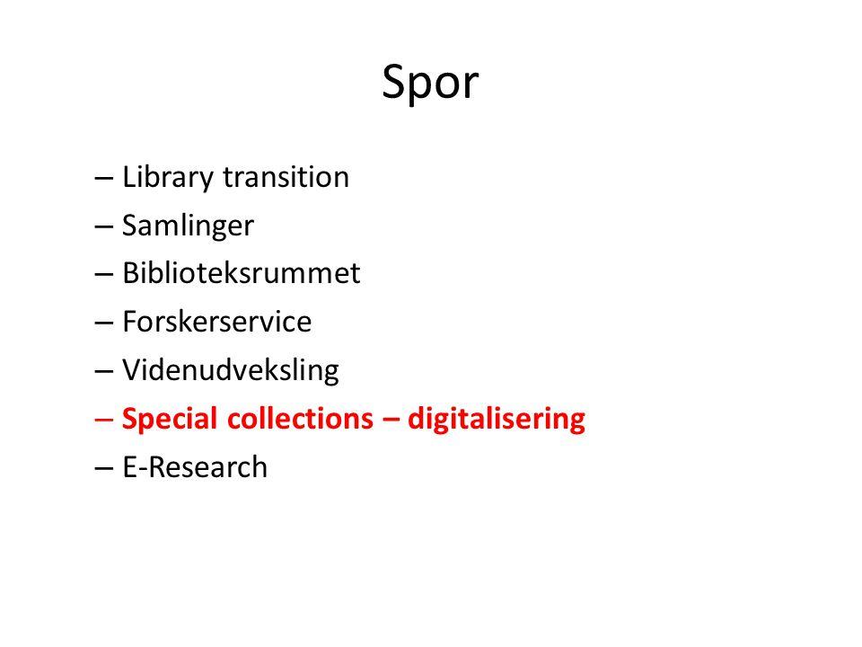 Spor Library transition Samlinger Biblioteksrummet Forskerservice
