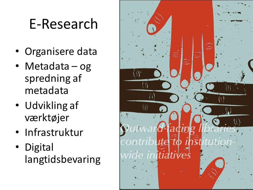 E-Research Organisere data Metadata – og spredning af metadata