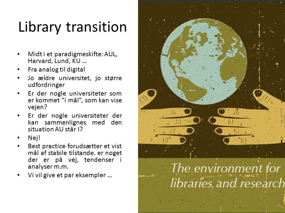 Library transition Midt i et paradigmeskifte: AUL, Harvard, Lund, KU …
