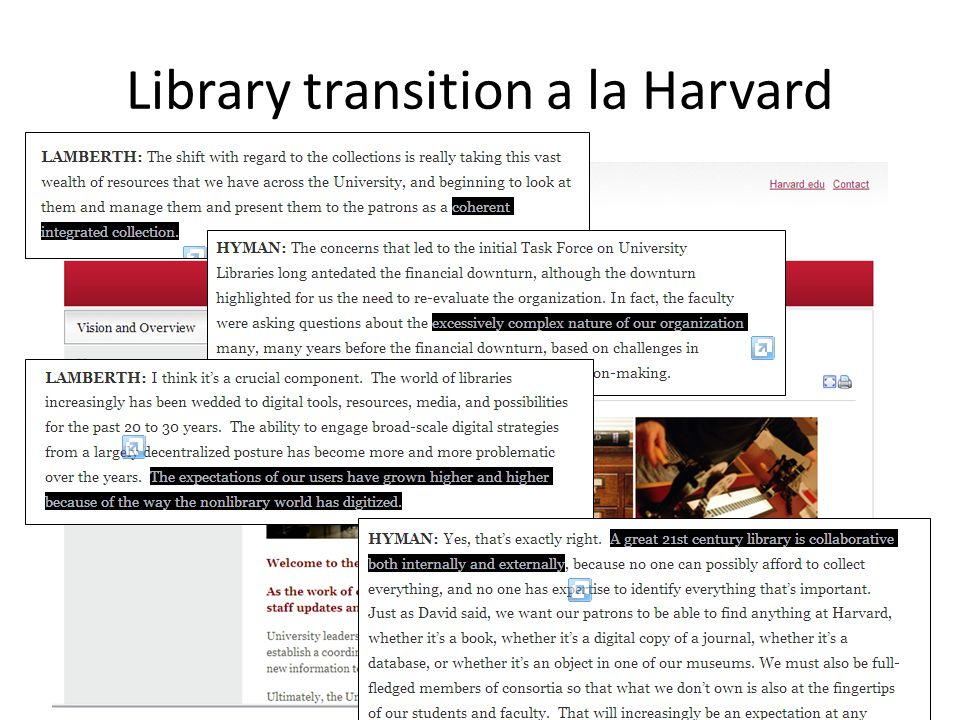 Library transition a la Harvard
