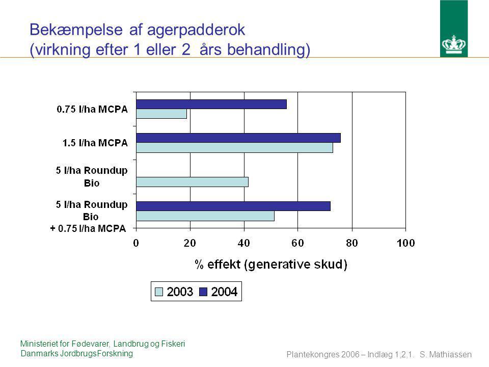Bekæmpelse af agerpadderok (virkning efter 1 eller 2 års behandling)