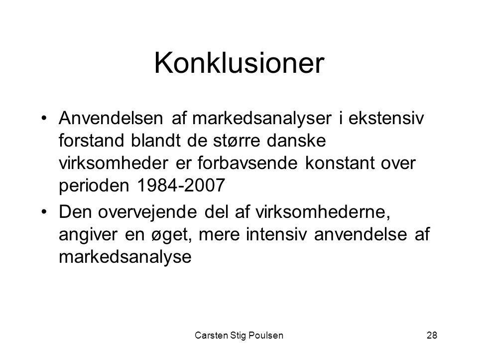 Konklusioner Anvendelsen af markedsanalyser i ekstensiv forstand blandt de større danske virksomheder er forbavsende konstant over perioden 1984-2007.