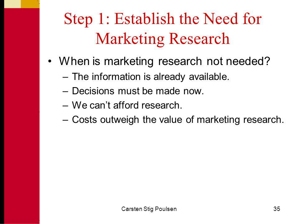 Step 1: Establish the Need for Marketing Research