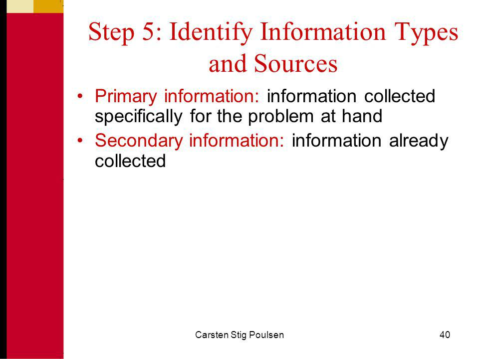 Step 5: Identify Information Types and Sources