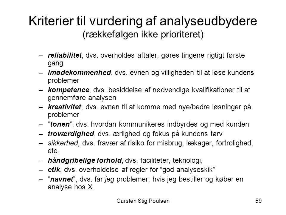 Kriterier til vurdering af analyseudbydere (rækkefølgen ikke prioriteret)