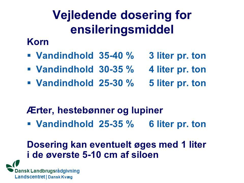 Vejledende dosering for ensileringsmiddel