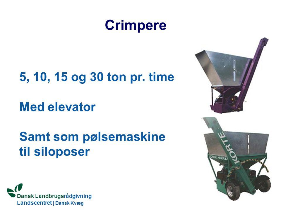 Crimpere 5, 10, 15 og 30 ton pr. time Med elevator