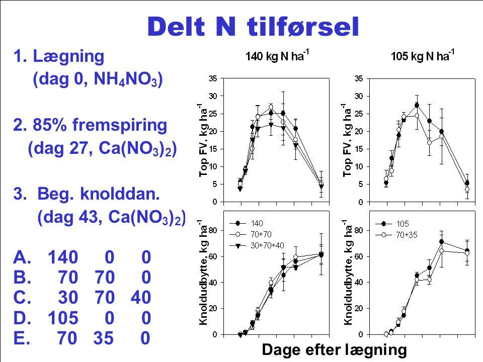 1. Lægning (dag 0, NH4NO3) 2. 85% fremspiring. (dag 27, Ca(NO3)2) 3. Beg. knolddan. (dag 43, Ca(NO3)2)