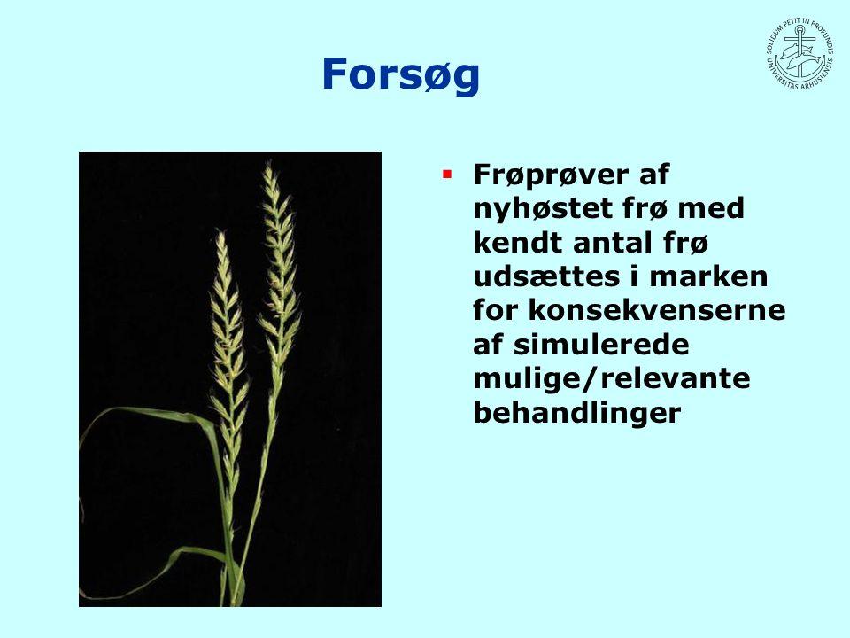 Forsøg Frøprøver af nyhøstet frø med kendt antal frø udsættes i marken for konsekvenserne af simulerede mulige/relevante behandlinger.