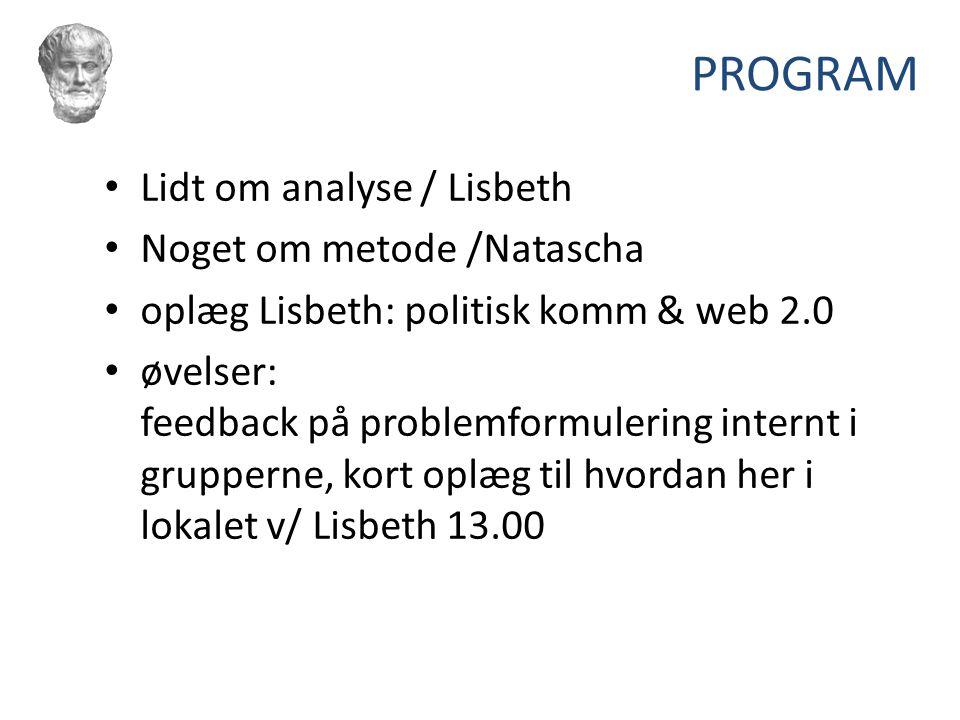 PROGRAM Lidt om analyse / Lisbeth Noget om metode /Natascha