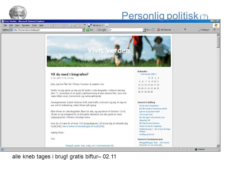 Personlig politisk ( ) alle kneb tages i brug! gratis biftur– 02.11