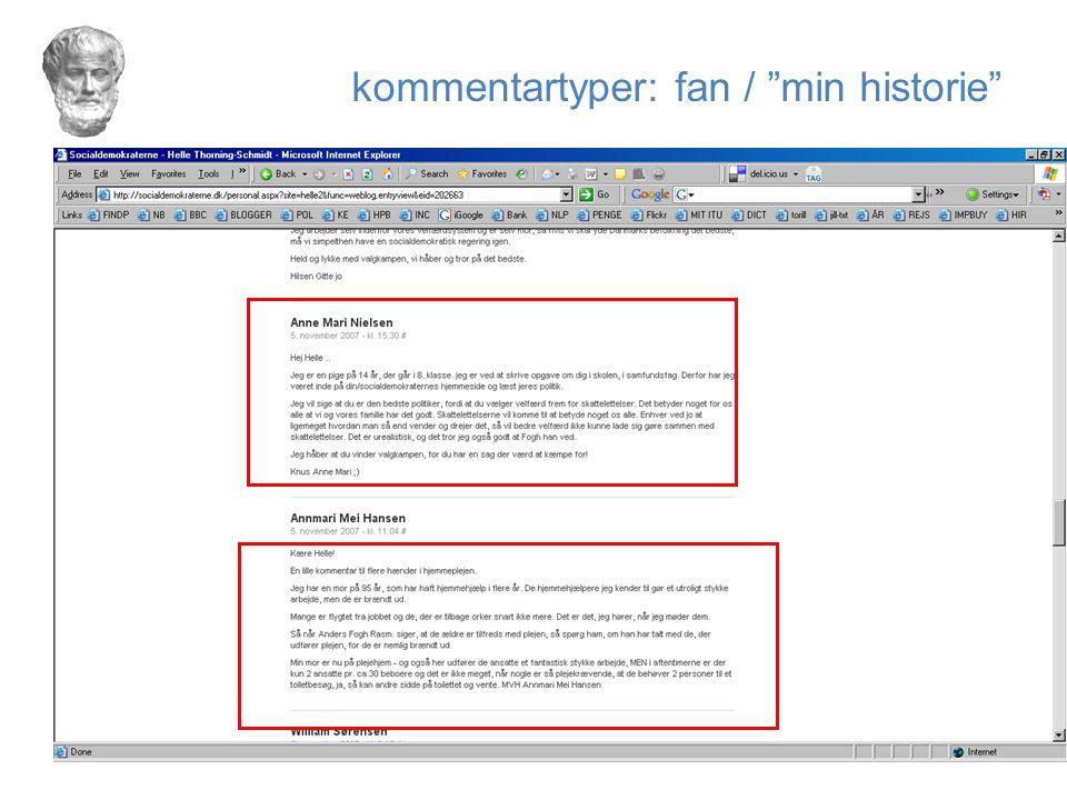 kommentartyper: fan / min historie