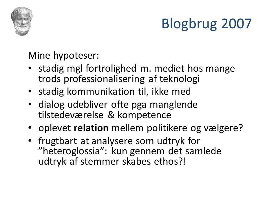 Blogbrug 2007 Mine hypoteser: