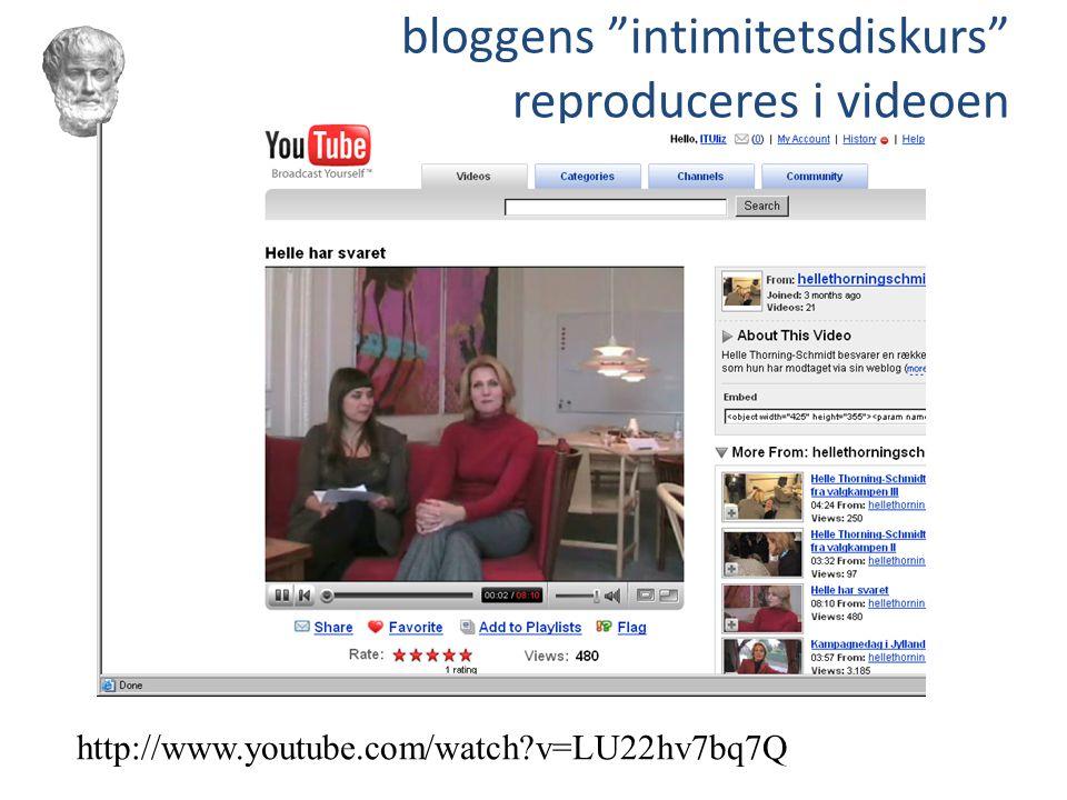 bloggens intimitetsdiskurs reproduceres i videoen