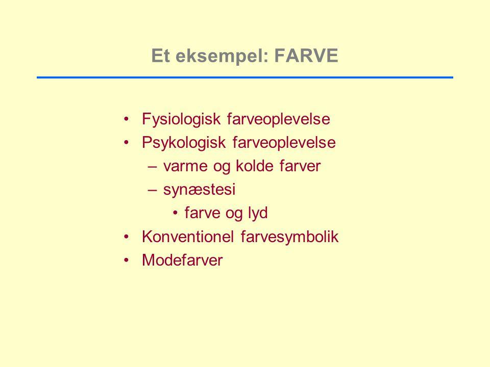 Et eksempel: FARVE Fysiologisk farveoplevelse