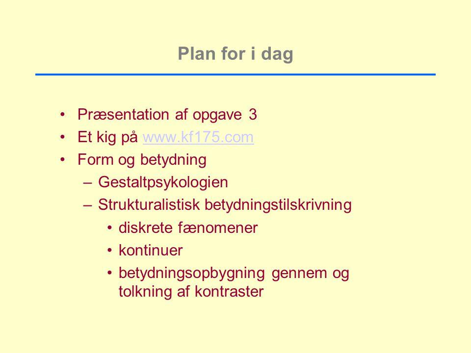 Plan for i dag Præsentation af opgave 3 Et kig på www.kf175.com