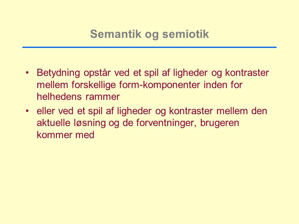 Semantik og semiotik Betydning opstår ved et spil af ligheder og kontraster mellem forskellige form-komponenter inden for helhedens rammer.