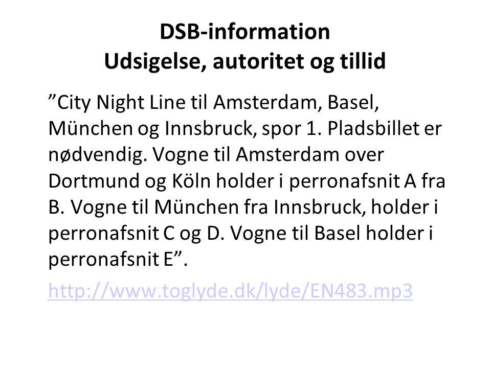 DSB-information Udsigelse, autoritet og tillid