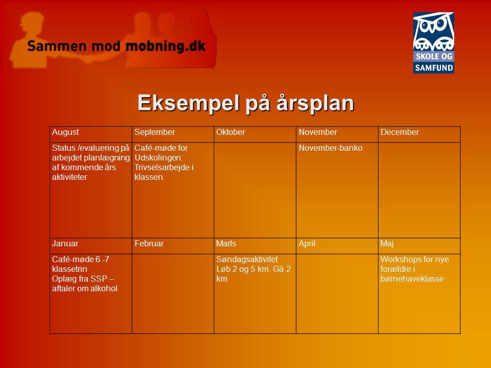 Eksempel på årsplan August September Oktober November December